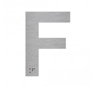 """Lettre """"F"""" + braille en aluminium découpé"""