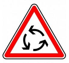 """Kit ou Panneau seul type routier """"Carrefour à sens giratoire""""  ref:AB25"""
