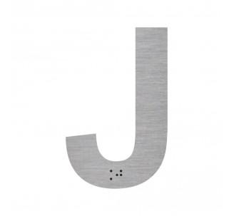 """Lettre """"J"""" + braille en aluminium découpé"""