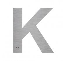 """Lettre """"K"""" + braille en aluminium découpé 100mm ou 150mm de haut"""