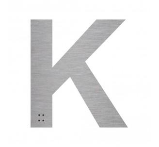 """Lettre """"K"""" + braille en aluminium découpé"""