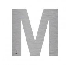 """Lettre """"M"""" + braille en aluminium découpé 100mm ou 150mm de haut"""
