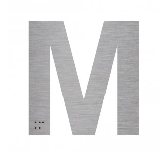 """Lettre """"M"""" + braille en aluminium découpé"""