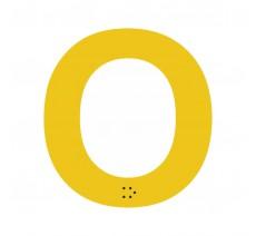 """Lettre """"O"""" + braille en aluminium découpé 100mm ou 150mm de haut"""