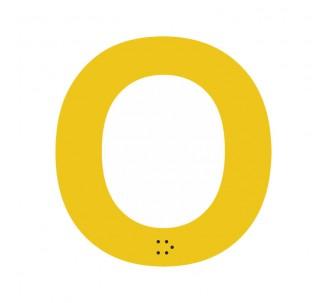 """Lettre """"O"""" + braille en aluminium découpé"""