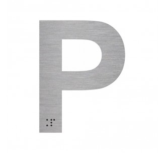 """Lettre """"P"""" + braille en aluminium découpé"""