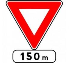 """Kit ou Panneau type routier """"Cédez le passage à 150m""""  ref:AB3b"""