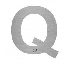 """Lettre """"Q"""" + braille en aluminium découpé 100mm ou 150mm de haut"""