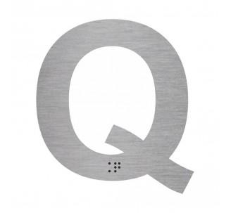 """Lettre """"Q"""" + braille en aluminium découpé"""