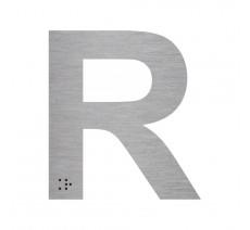 """Lettre """"R"""" + braille en aluminium découpé 100mm ou 150mm de haut"""