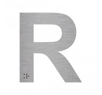 """Lettre """"R"""" + braille en aluminium découpé"""