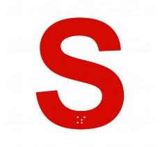 """Lettre """"S"""" + braille en aluminium découpé"""