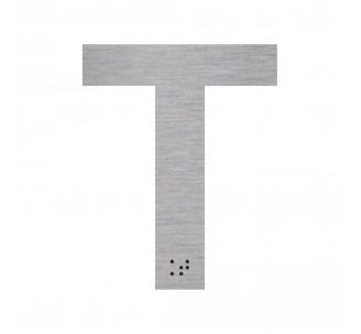 """Lettre """"T"""" + braille en aluminium découpé"""