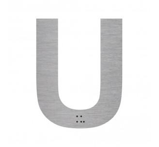 """Lettre """"U"""" + braille en aluminium découpé"""