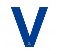 """Lettre """"V"""" + braille en aluminium découpé 100mm ou 150mm de haut"""