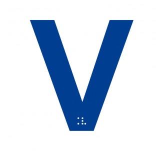 """Lettre """"V"""" + braille en aluminium découpé"""