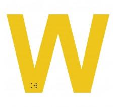 """Lettre """"W"""" + braille en aluminium découpé 100mm ou 150mm de haut"""