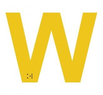 """Lettre """"W"""" + braille en aluminium découpé"""
