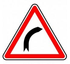 """Kit ou panneau seul type routier """"Virage à droite""""  ref:A1a"""