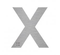 """Lettre """"X"""" + braille en aluminium découpé 100mm ou 150mm de haut"""