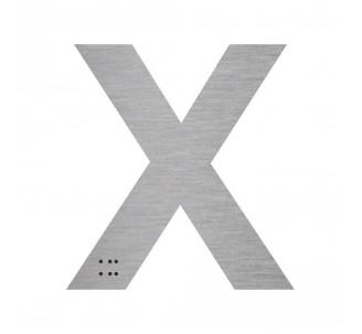 """Lettre """"X"""" + braille en aluminium découpé"""