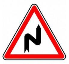 """Kit ou panneau seul type routier """"Succession de virages dont le 1er est à droite"""" ref:A1c"""
