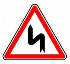 """Kit ou panneau seul type routier """"Succession de virages dont le 1er est à gauche"""" ref:A1d"""