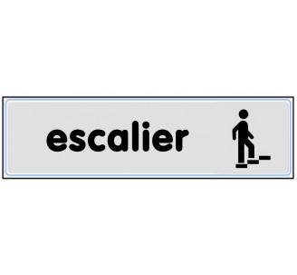 Plaque de porte plexi argent escalier