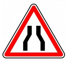 """Kit ou Panneau type routier """"Chaussée rétrécie"""" ref:A3"""