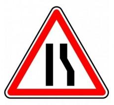 """Kit ou Panneau seul type routier  """"Chaussée rétrécie par la droite""""  ref:A3a"""