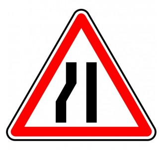"""Kit ou Panneau type routier """"Chaussée rétrécie par la gauche"""" ref:A3b"""