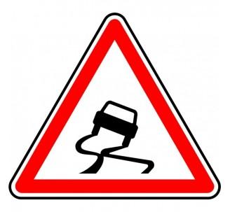 """Kit ou Panneau type routier """"Chaussée glissante"""" ref:A4"""