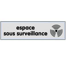 Plaque de porte plexi argent espace sous surveillance