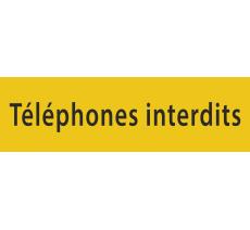 """Plaque porte avec relief """"Téléphones interdits"""""""