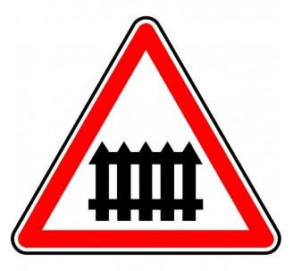 """Kit ou Panneau type routier """"Passage à niveau à barrières à fonctionnement manuel"""" ref:A7"""