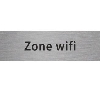 Plaque porte alu gravé zone wifi