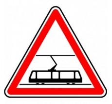 """Kit ou Panneau type routier  """"Traversée de voies de tramways""""  ref:A9"""