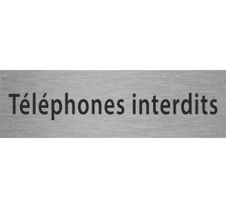 Plaque porte alu gravé téléphones interdits