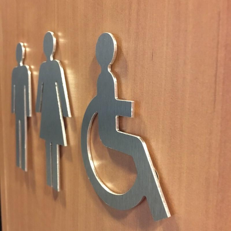 Porte Handicapé : Plaque porte picto handicapé en alu ou pvc découpé