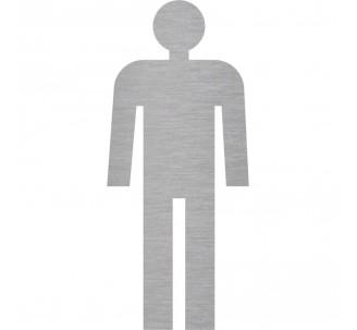 Plaque porte picto alu brossé découpé Toilettes homme