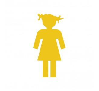 Plaque porte picto alu brossé découpé Toilettes fillette
