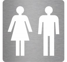 """Plaque de porte picto alu ou pvc pochoir """"Toilettes mixtes"""", 5 couleurs au choix"""