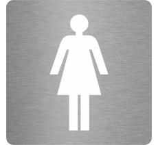 """Plaque de porte picto alu/pvc découpé pochoir """"Toilettes femmes"""", 5 coloris au choix"""