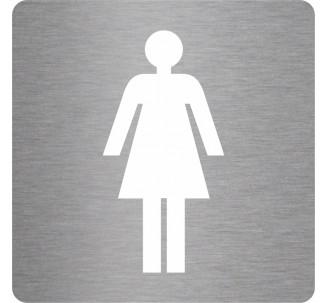 Plaque porte picto alu brossé découpé Toilettes femme