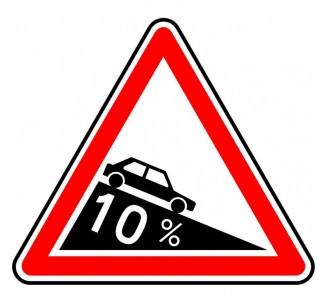 """Kit ou Panneau type routier """"Descente dangereuse"""" ref:A16"""