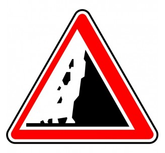 """Kit ou Panneau type routier """"Risque de chutes de pierres"""" ref:A19"""