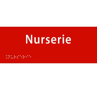 "Plaque porte avec Braille et relief ""Nurserie"""