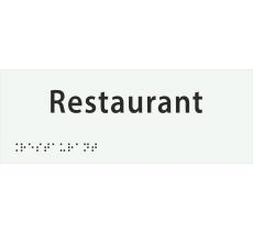 "Plaque porte avec Braille et relief ""Restaurant"""