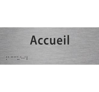 """Plaque porte avec Braille et relief """"Accueil"""""""