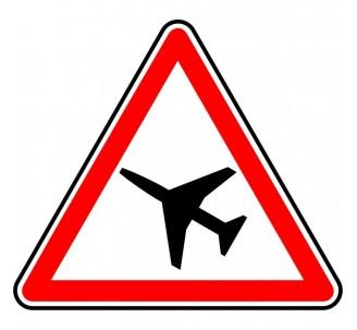 """Panneau seul ou en kit type routier """"Traversée d'une aire de danger aérien"""" ref:A23"""